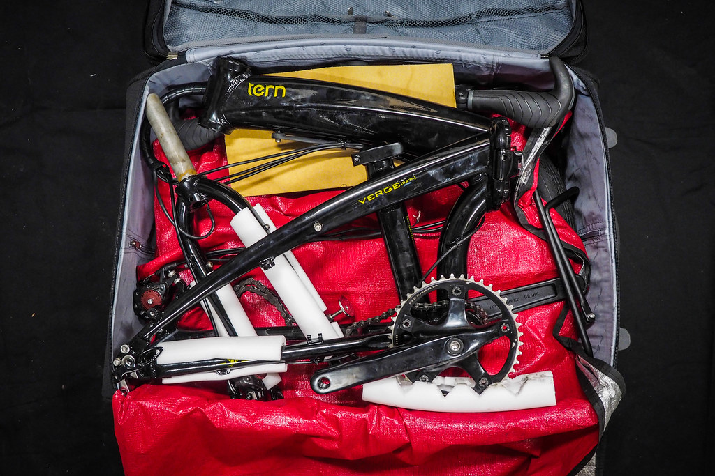 Tern Verge S27h folding bicycle in an airline regulation size suitcase