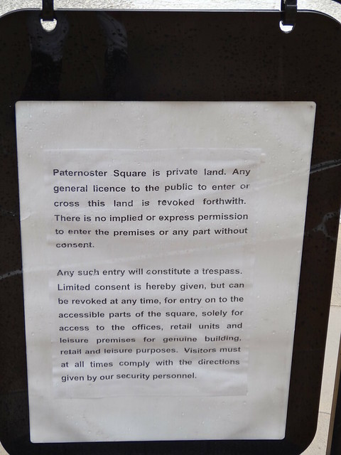 Walk 23 - Paternoster Square Private Land Sign - Central Line walk 4