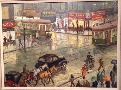 40年代的蒙特利尔Rue Ste-Catherine和Rue Peel路口