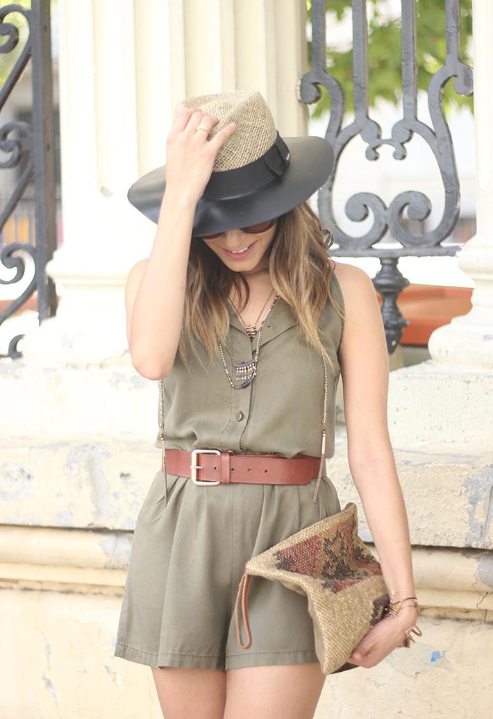 Khaki Jumpsuit Hat Clutch Summer Outfit 07