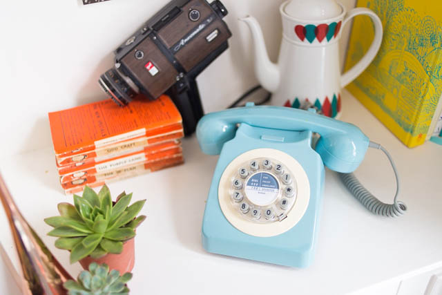 retro blue 60s phone