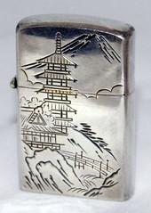 Vintage Sterling Silver Cigarette Lighter With Japanese Scene, Made In Japan