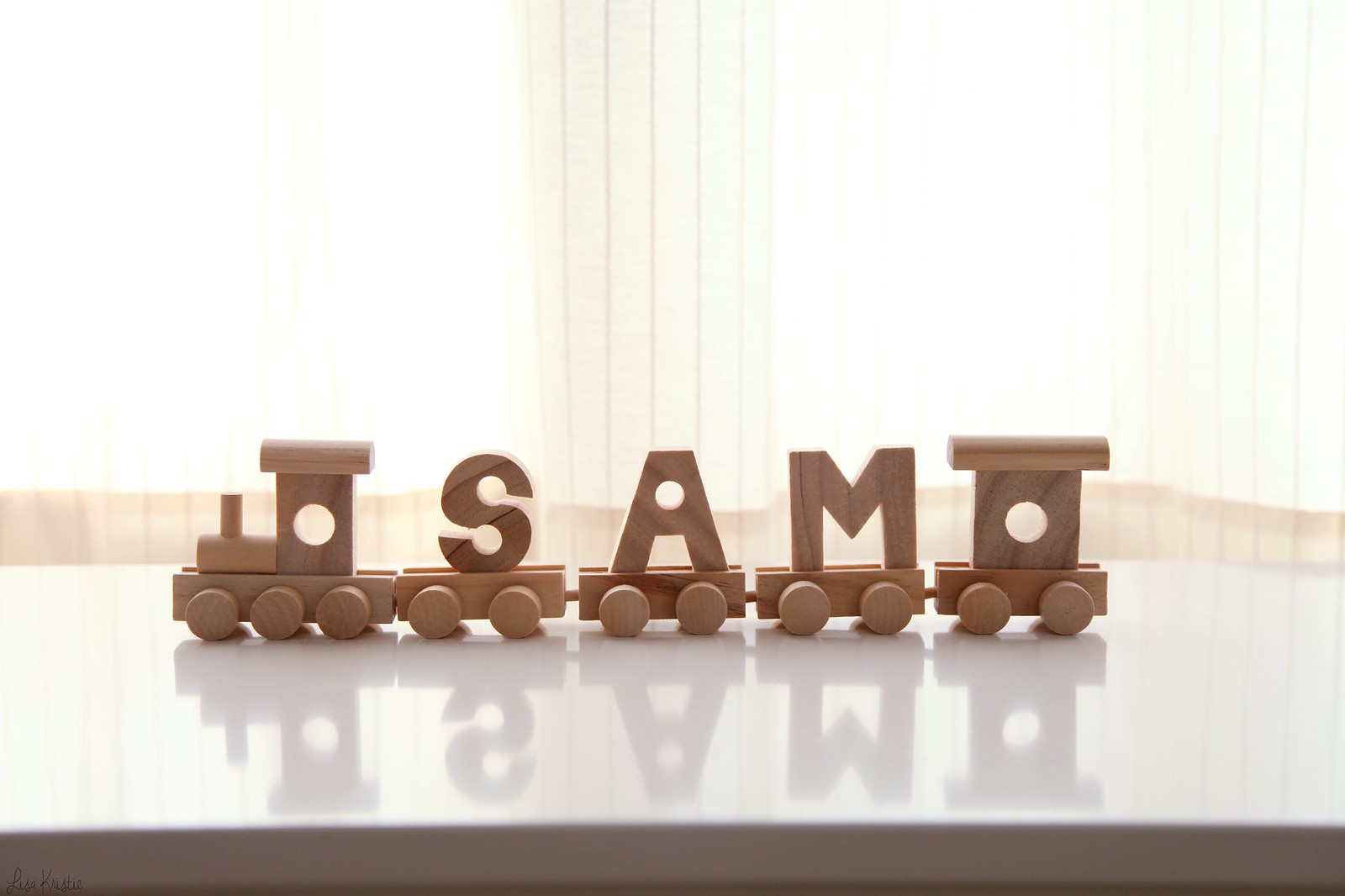 sam baby name wooden train block letters spelling toy wood