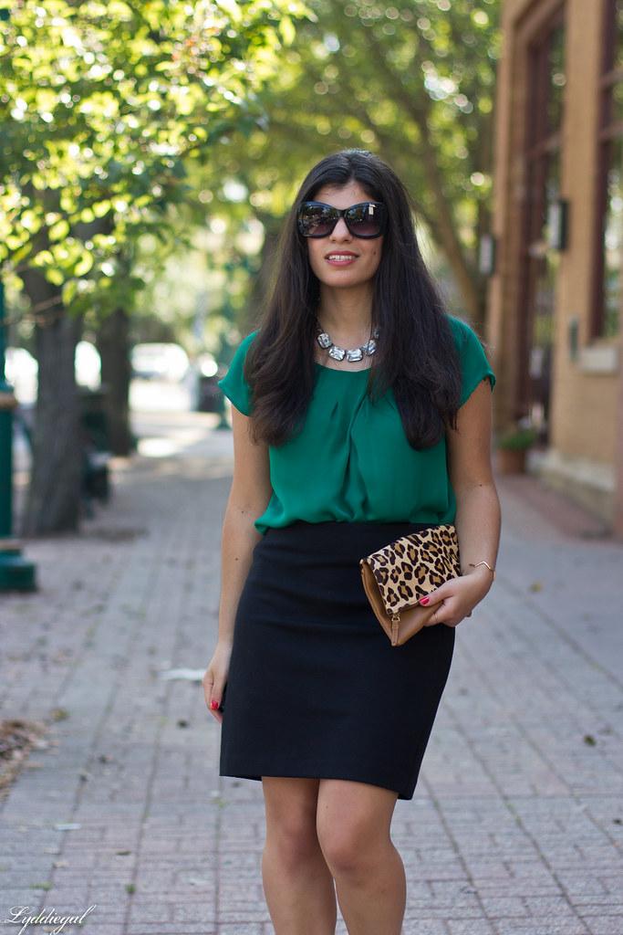 green blouse, black pencil skirt, leopard clutch-1.jpg