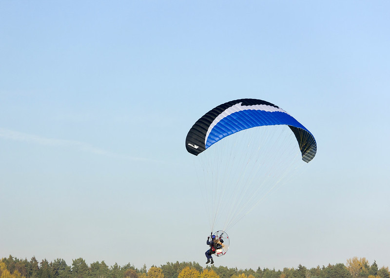 Paramotor in flight
