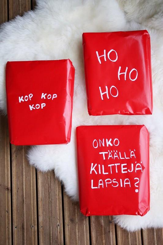 joulutervehdys lahjapakettiin