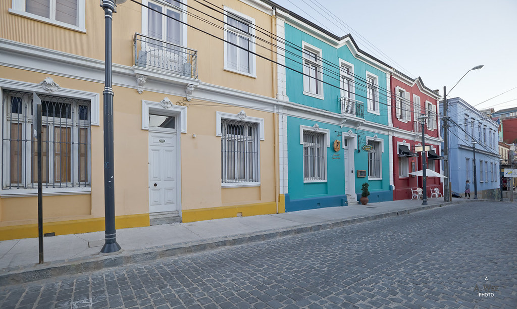 Colourful row of townhouse
