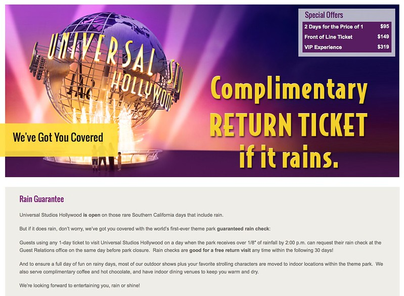Universal eliminates rain check guarantee complimentary ticket policy