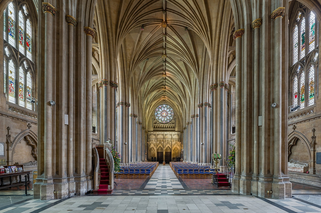 The nave of Bristol Cathedral looking west towards the entrance. Credit: David Iliff