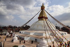 The Buddhist stupa of Boudhanath in Kathmandu, Nepal is one of the largest in the world. This was just one of the amazing sights our @onthegotours guide showed us today! #travel #nepal #unesco