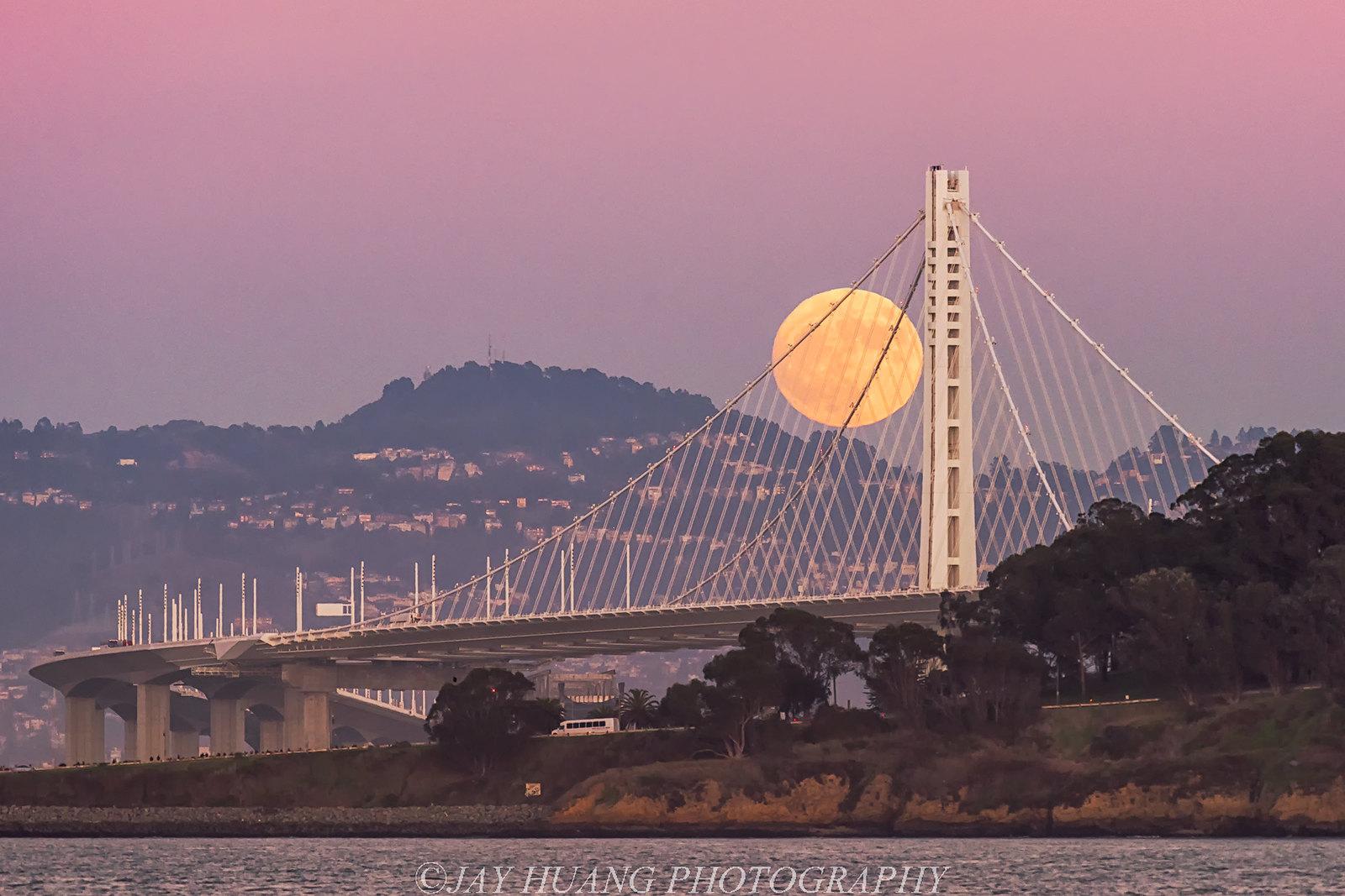 Super Moon Over Bay Bridge