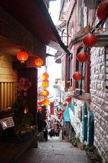 Staircases with red lanterns