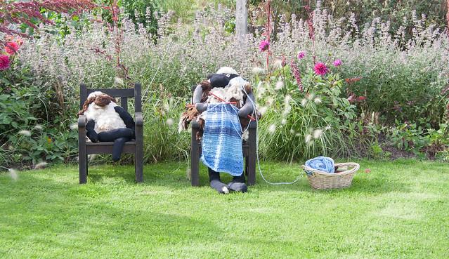 Sheep knitting at Hampton Court
