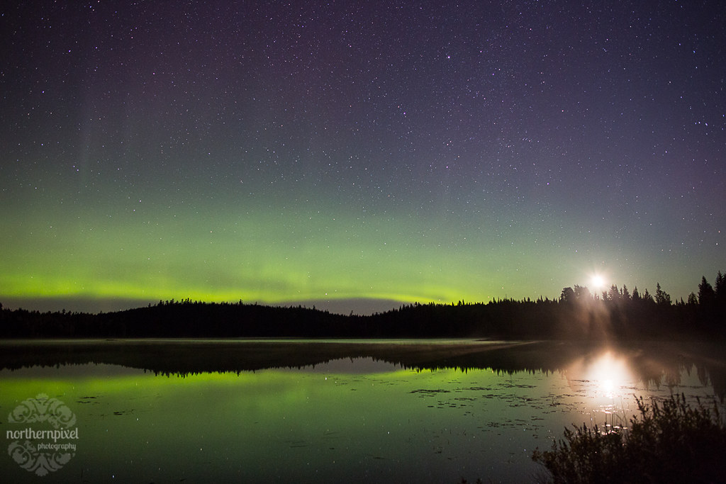Auroras and Moonrise - Prince George BC