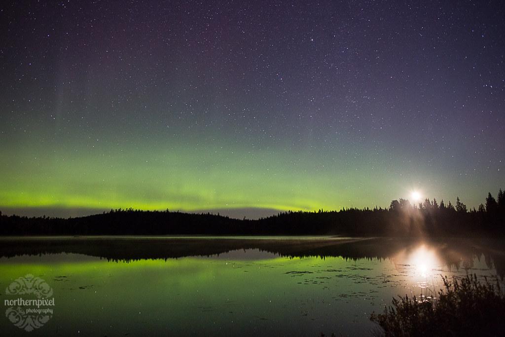 Auroras and Moonrise - Prince George BC