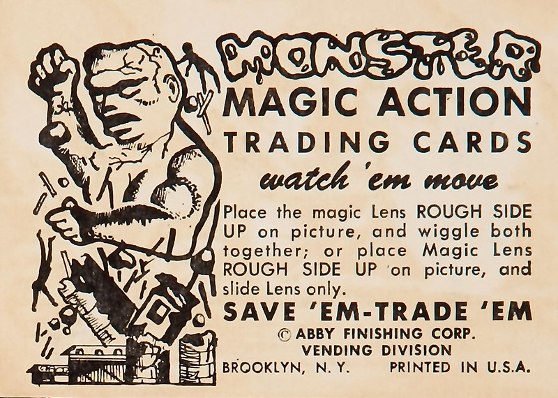 Monster Magic Action Trading Cards (1963) back