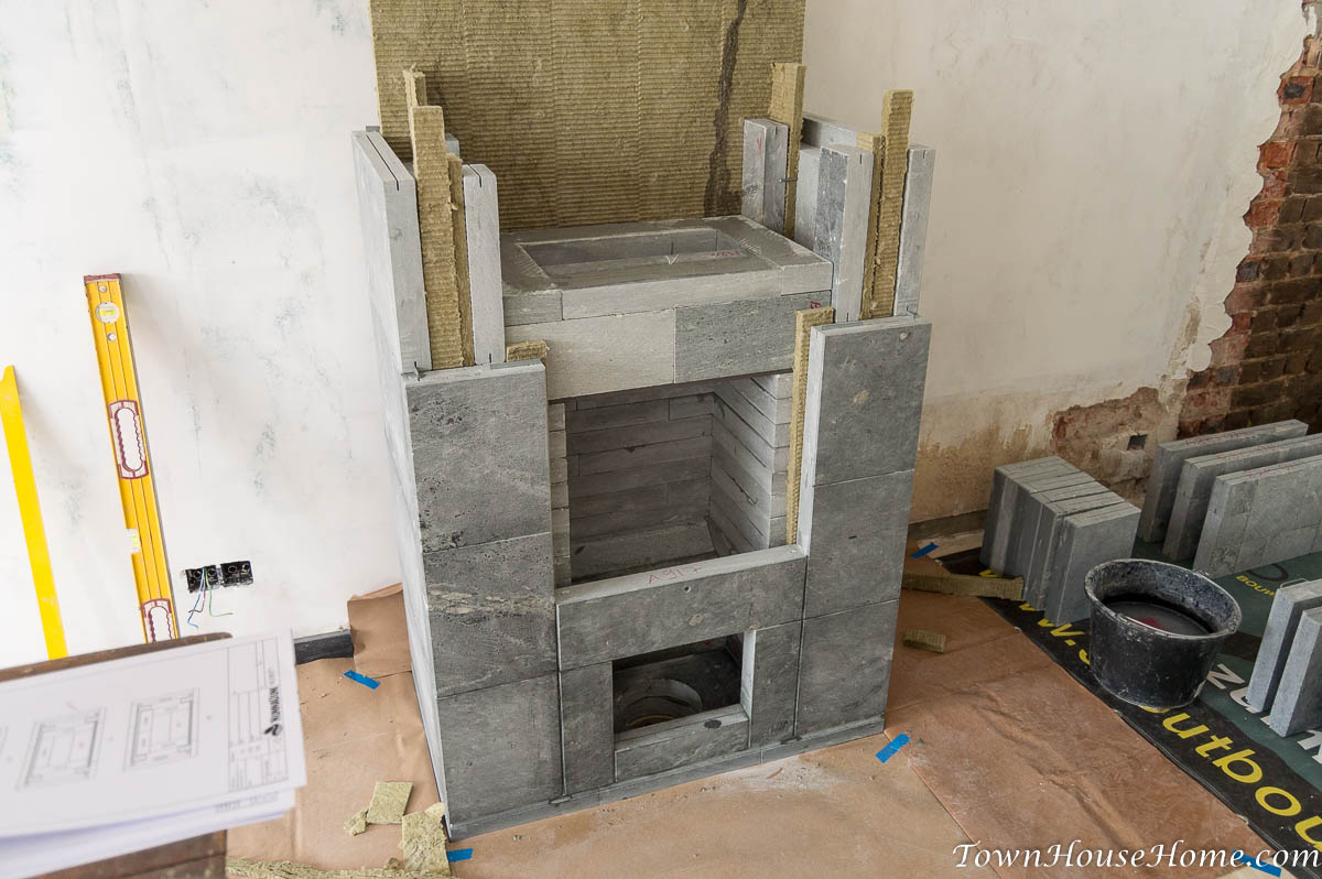 soapstone fireplace installation fourth layer