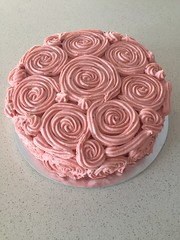Lemon cake with raspberry cream cheese frosting.