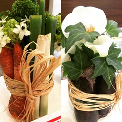 "creative ""foodie"" flower arrangements at the dentist♡  #osaka #japan #flowerarrangement"