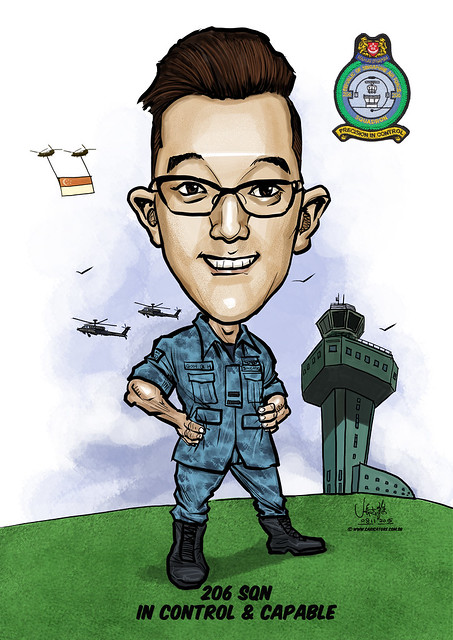 digital caricature for Singapore Air Force - Gabriel Tan