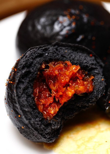 Steamed-Charcoal-Soft-Bun-stuffed-with-Chili-Crab-Meat-Fililng