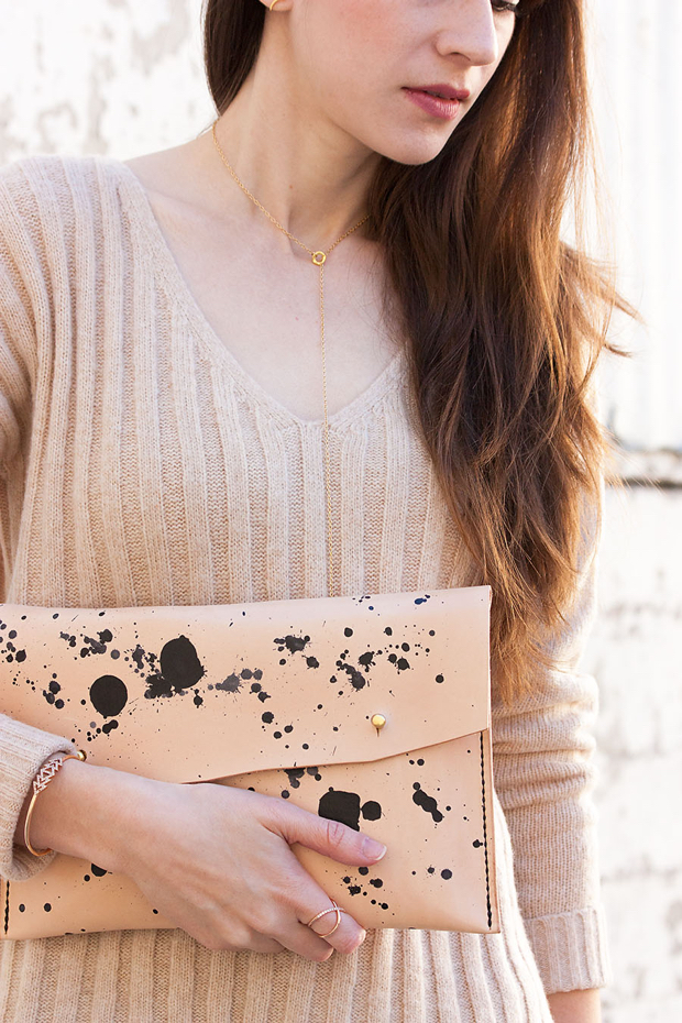 Walter and George Clutch, Tan Sweater, Gorjana Necklace
