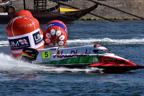 Portugal-Porto Thani al Qamzi of UAE of the Team Abu Dhabi at UIM F1 H20 Powerboat Grand Prix of Portugal. August 1-2, 2015. .Picture by Vittorio Ubertone/Idea Marketing - copyright free editorial.