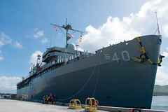 Sailors man the rails as USS Frank Cable (AS 40) returns to Guam, Nov. 8. (U.S. Navy)