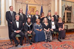 U.S. Secretary of State John Kerry poses for a photo with 2016 Kennedy Center Honorees at the Kennedy Center Honors Dinner at the U.S. Department of State, in Washington, D.C. on December 4, 2016. [State Department Photo/Public Domain]
