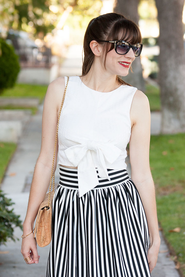 Bow Crop Top, Striped Skirt, Midi Skirt, Lookbook Store, Red Lips, Cork Purse