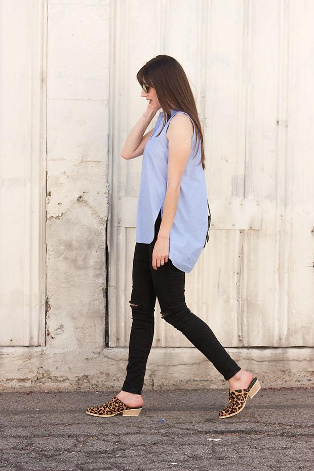 Marais Mules, Sleeveless Madewell Shirt, Black Skinny Jeans