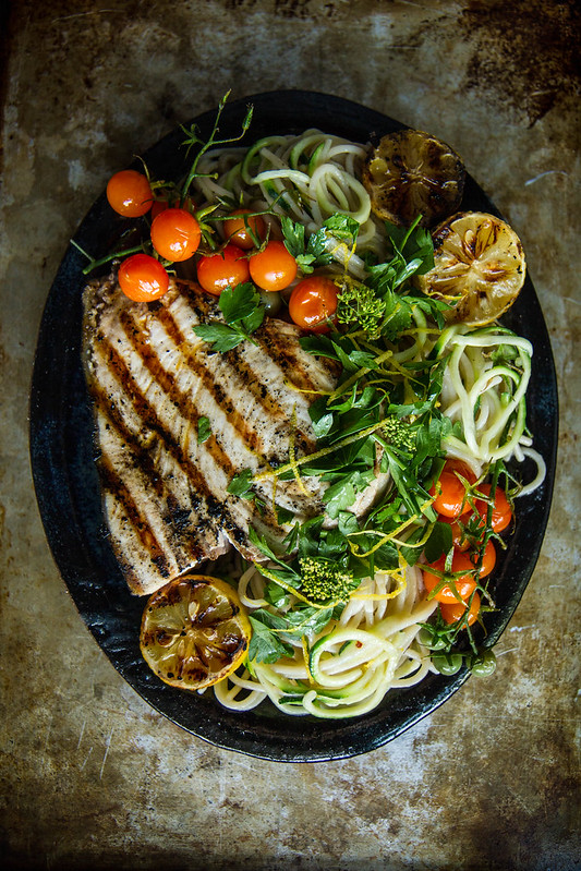 Meditteranean Pasta with Grilled Swordfish and Gremolata