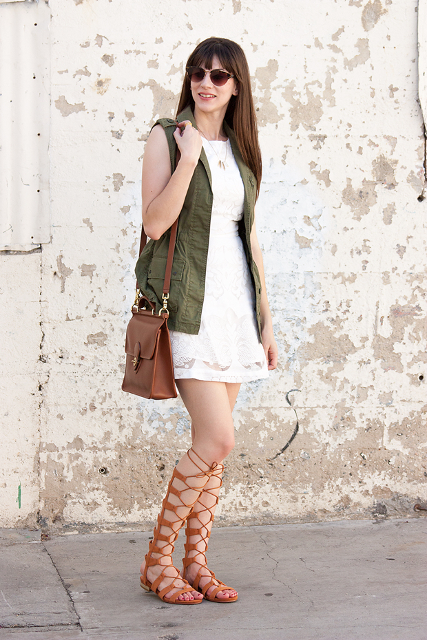 Gladiator Sandals, White Summer Dress, Utility Vest