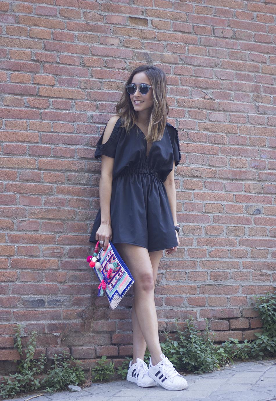 Black Jumpsuit With Adidas SuperStar01