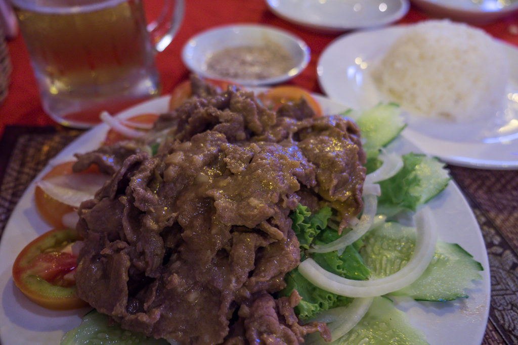Lok lak marinated beef dish at Karo restaurant in Siem Reap, Cambodia Tips to Travel Cambodia on the Cheap