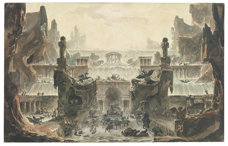 "Louis-Jean Desprez - Design for a stage set, ""The Temple of Neptune,"" 1792"