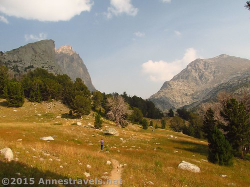 Walking through the southern end of Jackass Pass, Wind River Range, Wyoming
