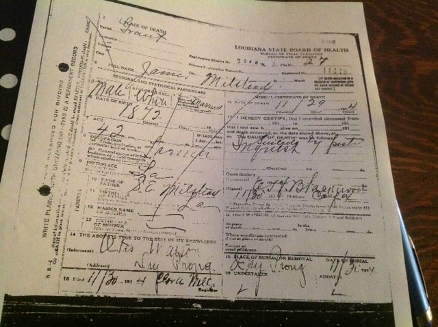 James Milstead Death Certificate