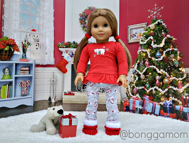 Playful Polar Bear PJs and  Cozy Christmas Scene