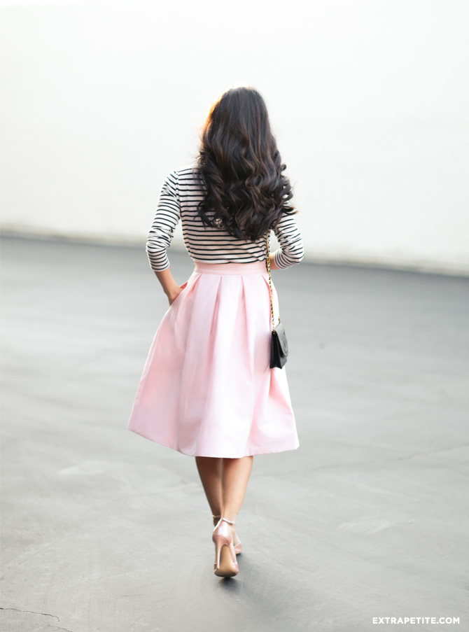 pink skirt striped tee girly outfit