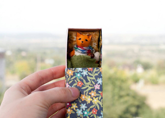 fox in a floral matchbox