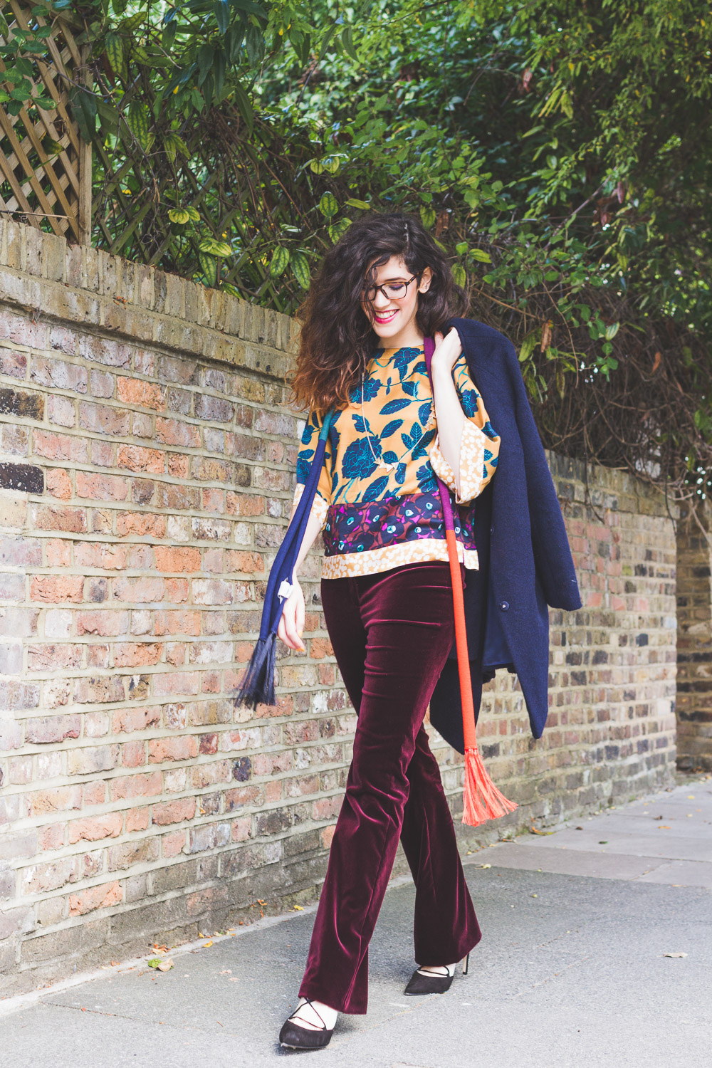 boden ICONS collection seventies style outfit at home