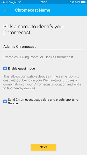 Chromecast iOS App - Setup - Chromecast Name