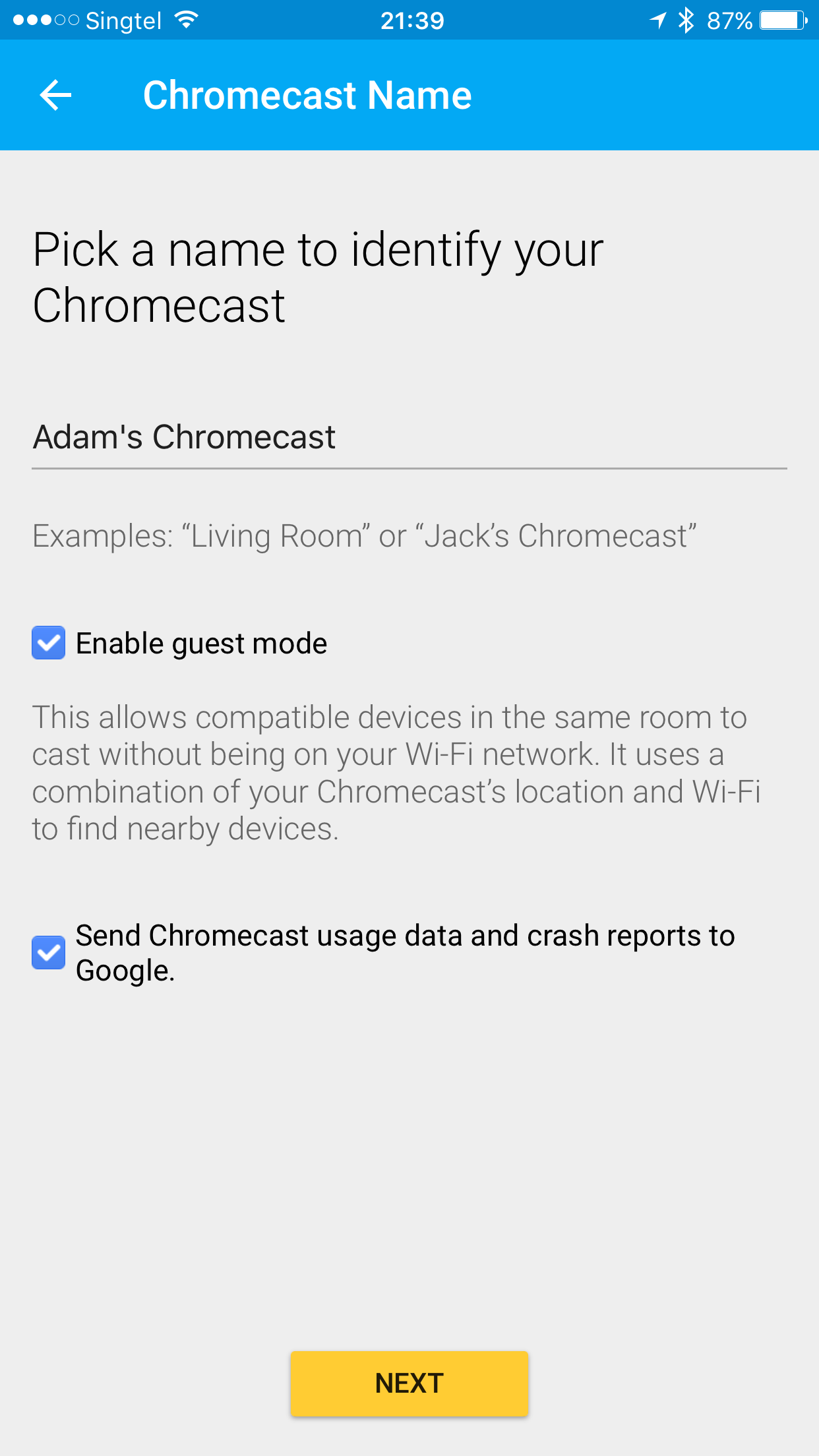 how to connect new network to chromecast