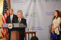 "UN Secretary-General's Special Envoy for Cities and Climate Change Michael R. Bloomberg delivers remarks with U.S. Secretary of State John Kerry at the ""Our Cities, Our Climate: A Bloomberg Philanthropies - U.S. Department of State Partnership"" working luncheon, at the U.S. Department of State. [State Department Photo/Public Domain]"