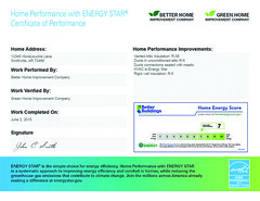 Home Performance with Energy Star Certificate of Performance