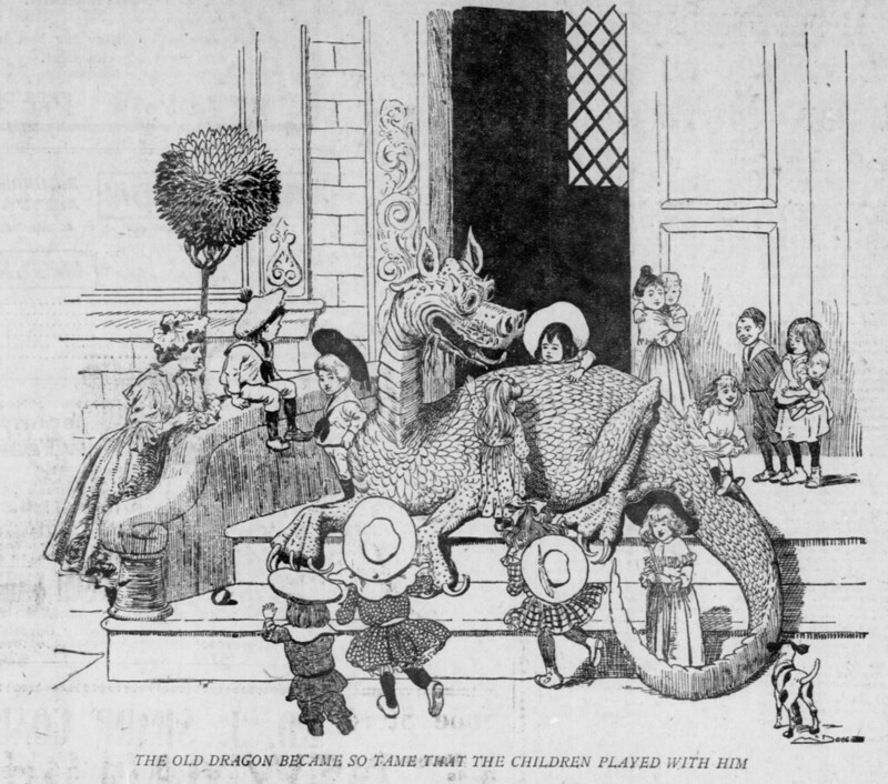 Walt McDougall - The Salt Lake herald., January 03, 1904, The Old Dragon Became So Tame That The Children Played With Him