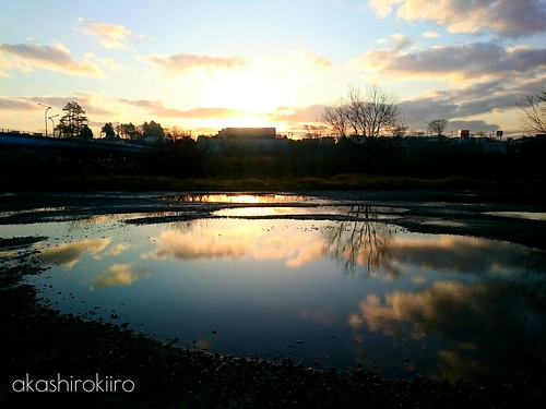 morning japan sunrise puddle aomori hachinohe refrection 青森 水たまり 八戸 xperia
