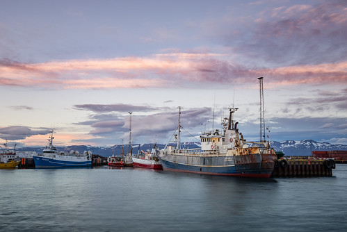 travel sea mountains cold color nature beautiful clouds sunrise canon boats island dawn is iceland village small ngc north fisher northeast husavik 6d ringroad húsavík canonef1635f4lis