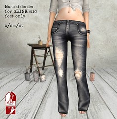 Petite Mort- Busted stonewash jeans